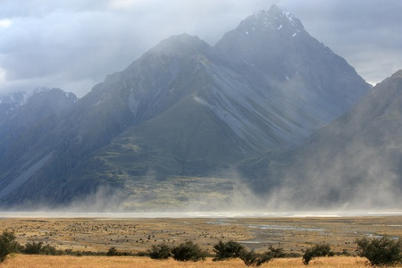 Sand storm at Mount Cook National Park