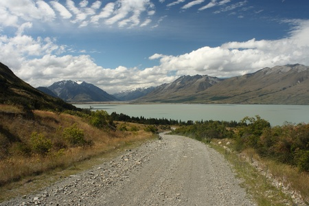 track to lake Ohau in Southern Alps, New Zealand photo