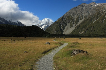 hooker: footpath to Hooker Valley in Mount Cook National Park Stock Photo