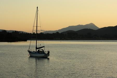Te: yacht moored at lake Te Anau, New Zealand