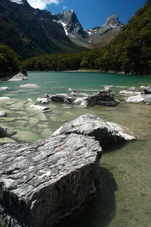 rocks in lake Mackenzie, Fiordland National Park Stock Photo - 18198247