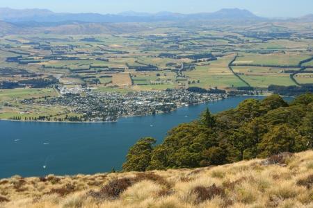 Te: aerial view of lake Te Anau, New Zealand