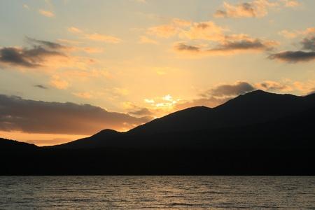 Te: sunset over lake Te Anau, New Zealand
