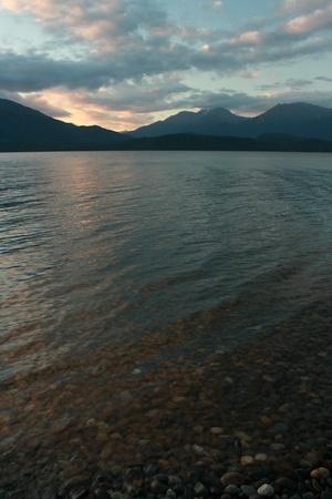 Te: lake Te Anau at sunset, New Zealand