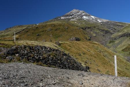 egmont: hiking track with poles on Mount Taranaki