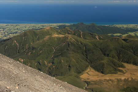 egmont: aerial view of mountain ranges in Egmont National Park