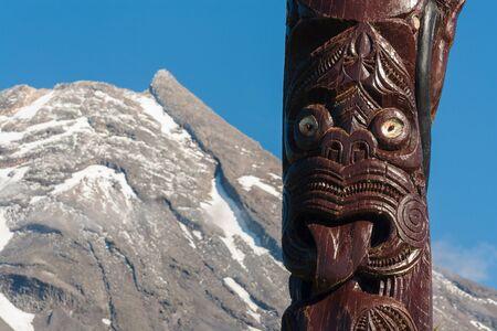 egmont: traditional Maori carving Stock Photo