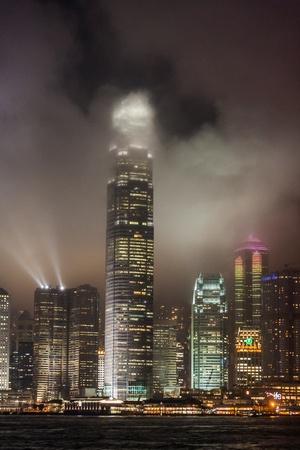 Hong Kong light show at night Stock Photo - 19128404