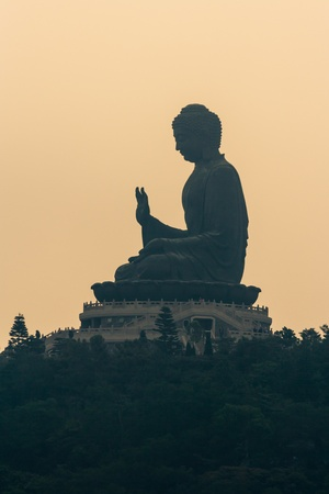Tian Tan Buddha silhouette Stock Photo - 19173059