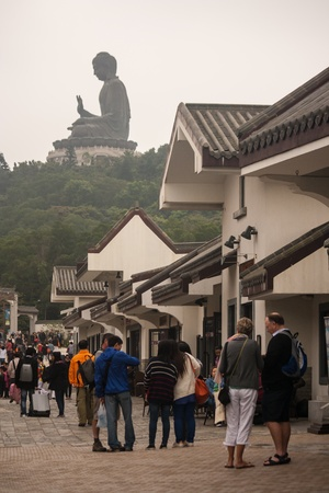tourists at Ngong Ping village, Lantau Island, Hong Kong Stock Photo - 19171111