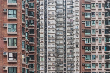 overpopulated: packed tower blocks in Hong Kong