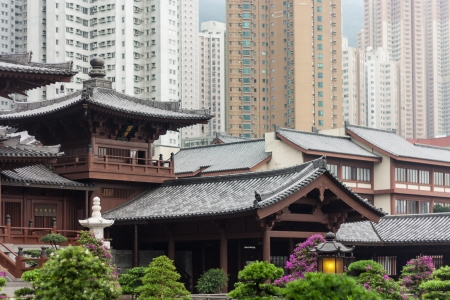 rooftops in Chi Lin Nunnery in Kowloon, Hong Kong