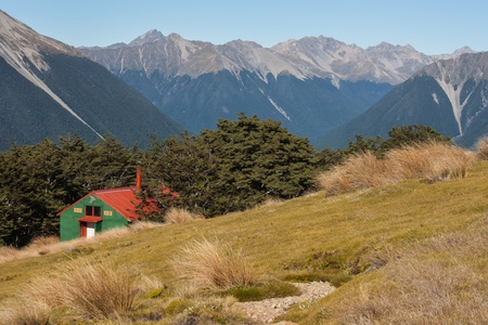 mountain hut in Nelson Lakes, New Zealand 스톡 콘텐츠