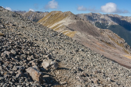scree slope above Travers Valley in Nelson Lakes National Park