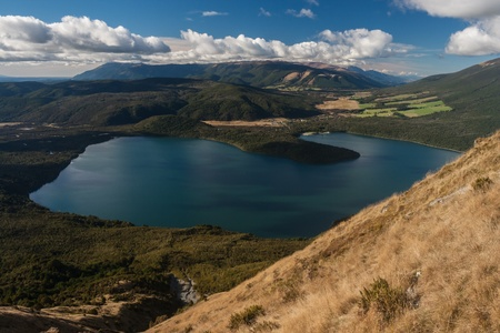 nelson: aerial view of Lake Rotoiti in Nelson Lakes National Park