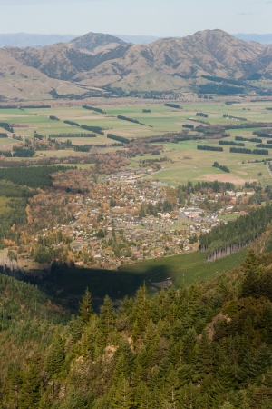 aerial view of Hanmer Springs, New Zealand