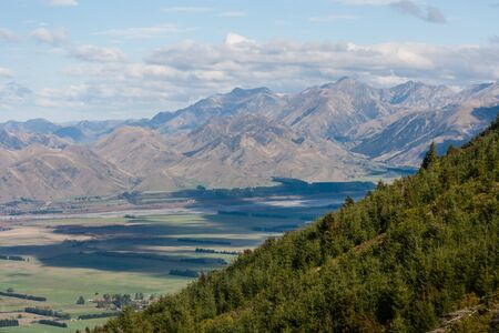 forested: forested hill in Southern Alps, New Zealand Stock Photo