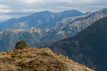 ranges: catene montuose Lewis Pass, Nuova Zelanda Archivio Fotografico