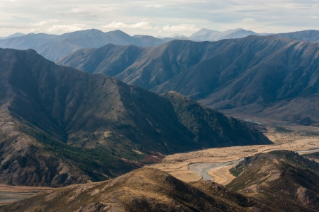 mountain ranges: aerial view of Clarence river valley, New Zealand