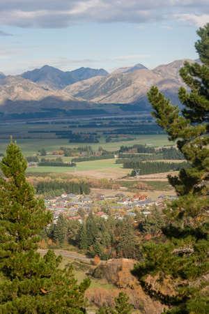 spa resort: aerial view of Hanmer Springs spa resort, New Zealand
