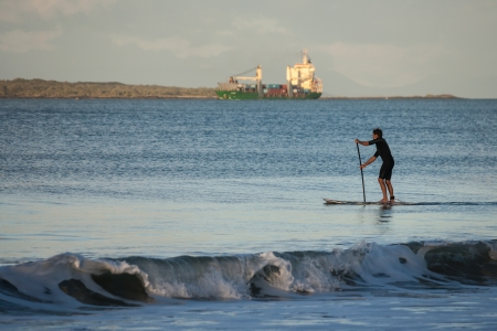 stand up paddle surfer Stock Photo
