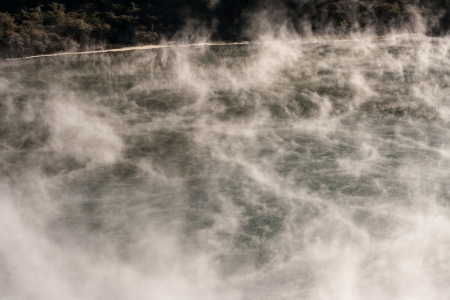 vapours above volcanic lake in Waimangu