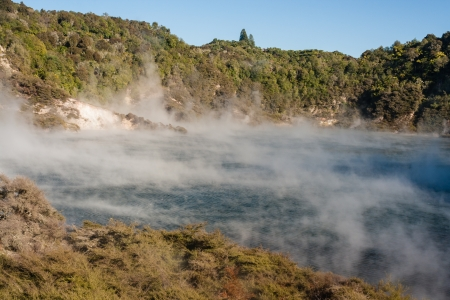 Echo Crater and Frying Pan Lake in Rotorua Stock Photo - 20130358