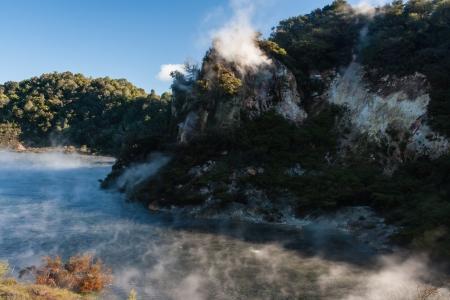 steam raising from Frying Pan Lake in Rotorua photo