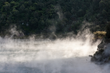 steaming geothermal lake in Waimangu photo