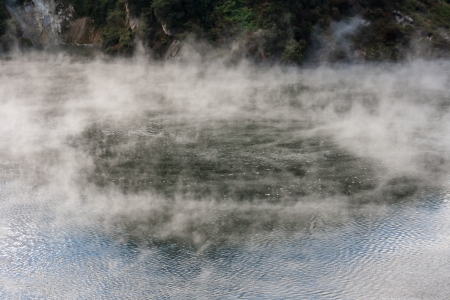 steam raising from geothermal lake in Waimangu, New Zealand Stock Photo - 20262113