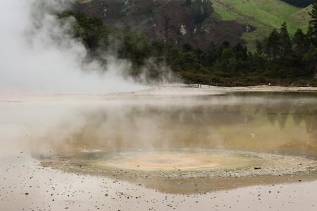 colourful volcanic lake in Waiotapu