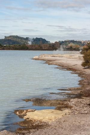 sulphur deposits on shore of lake Rotorua