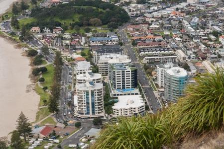 new zealand beach: view of Tauranga from mount Maunganui Stock Photo