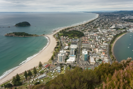 aerial view of Bay of Plenty with Tauranga town Stock Photo