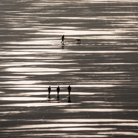 shinning light: aerial view of people strolling on beach