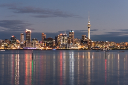 new zealand: Auckland cityscape at night Editorial