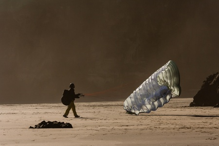 airfoil: paraglider on beach Stock Photo