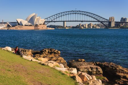 Sydney cityscape with opera house and harbour bridge