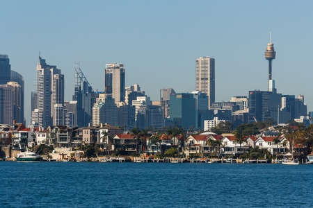 highrises: residential houses in Sydney suburb with CBD in background
