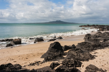 Milford Beach with Rangitoto Island in background