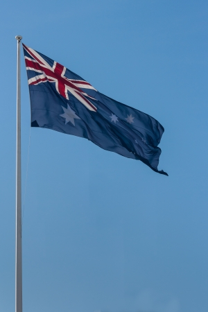 Australian flag on flagpole photo