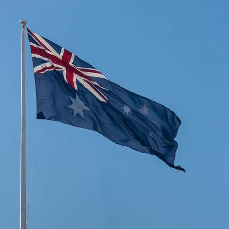 tremble: Australian flag fluttering in wind