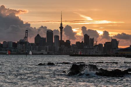 Auckland panorama at sunset