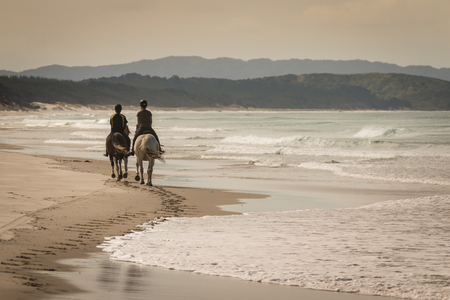 two horses with riders on sandy beach photo