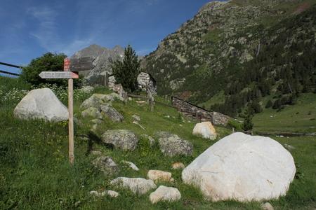 gr: GR route post in vall de benas Stock Photo