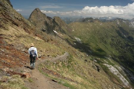 walker in Aragon Pyrenees