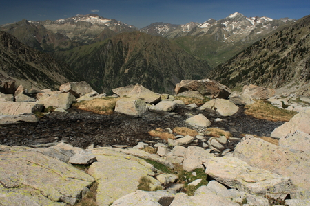 rugged terrain: glacial spring above creguena valley Stock Photo