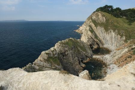 landslip: Lulworth Cove in Dorset