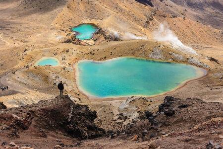 tongariro: aerial view of Emerald lakes in Tongariro National Park