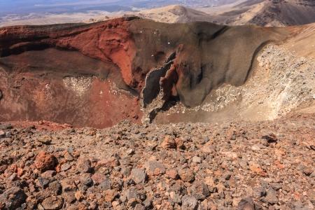 tongariro: Red Crater in Tongariro National Park Stock Photo